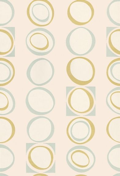 Hepworth (0280HEMENTH) - Little Greene Wallpapers - A stylish 70's design geometric pattern of ovals and squares.  Shown in the Menthe aqua and yellow green colourway. Please request a sample for true colour match.