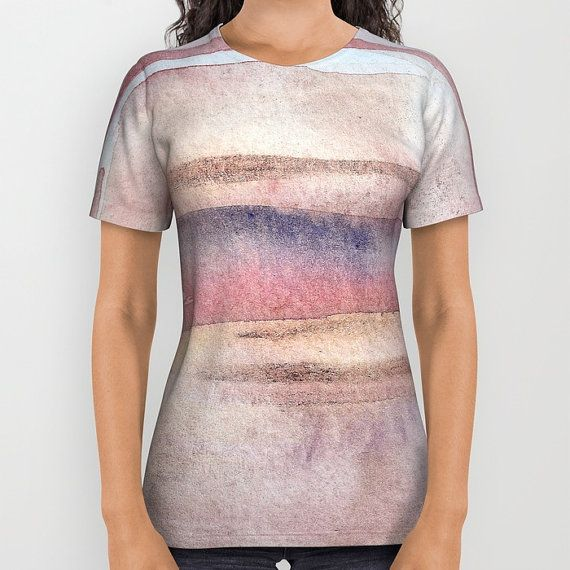 Delicate striped t-shirt with printed watercolor design.