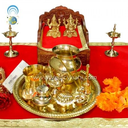 Shubh Labh Diwali Puja Thali Set and Ganepati, VedicVaani.com. Pooja Thalis with Ganesha, Lakshmi Idols from one of the best online store from India for sale.