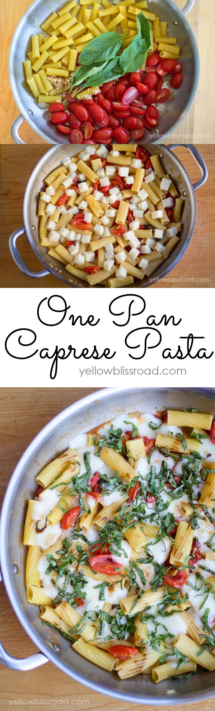 Quick and Delicious One Pan Caprese Pasta - Perfect for a busy weeknight meal or a late night craving - whoa! yum! #saucesome