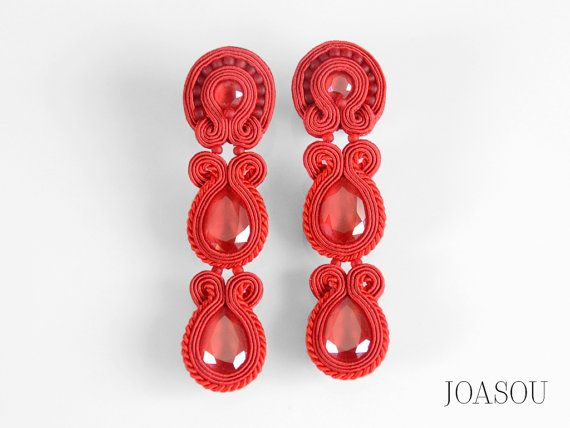 Extra long red earrings, shoulder dusters, statement accessories, woman gift, statement earrings, very long earrings, fashion earrings