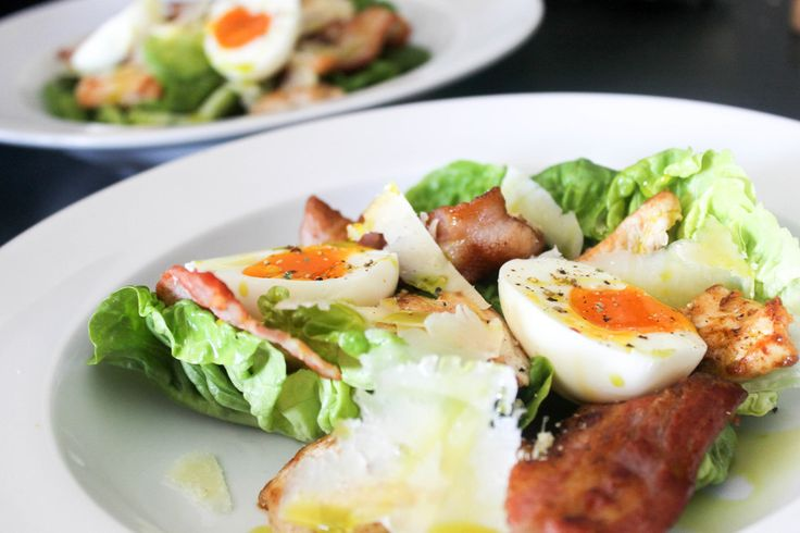 Not So Caesar Salad by Ari Eats ♥ This is my go-to salad recipe right now. It's my take on the traditional Caesar. I use a combination of chicken, bacon, cos, parmesan and soft boiled eggs with lemon aioli. Omit the cheese for a Paleo friendly option.