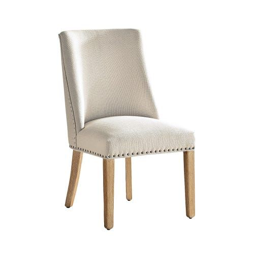 Corinne Linen Dining Chair with Natural Stonewash Wood