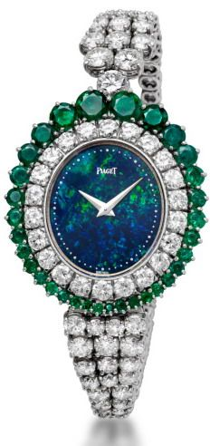 Opal, Diamonds and emeralds Piaget high jewellery watch