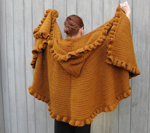 Ruffled & Hooded Crochet Shawl/Cape: free pattern