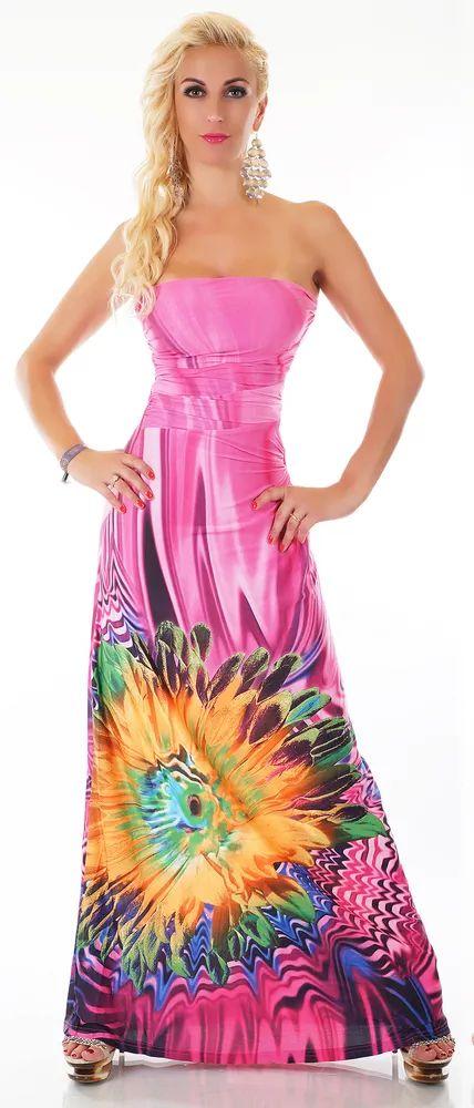 Svůdné dámské dlouhé šaty bez ramínek