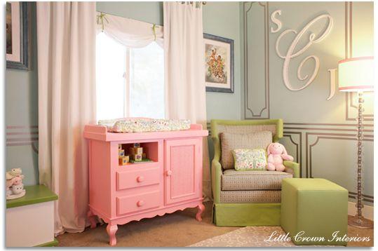 Wall design: Idea, Colors, Baby Girls, Baby Rooms, Monograms, Girls Nurseries, Changing Tables, Girls Rooms, Baby Nurseries
