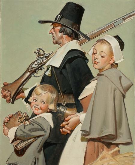 JOSEPH CHRISTIAN LEYENDECKER (American, 1874-1951). Pilgrims. Oil on canvas. 20 x 16 in