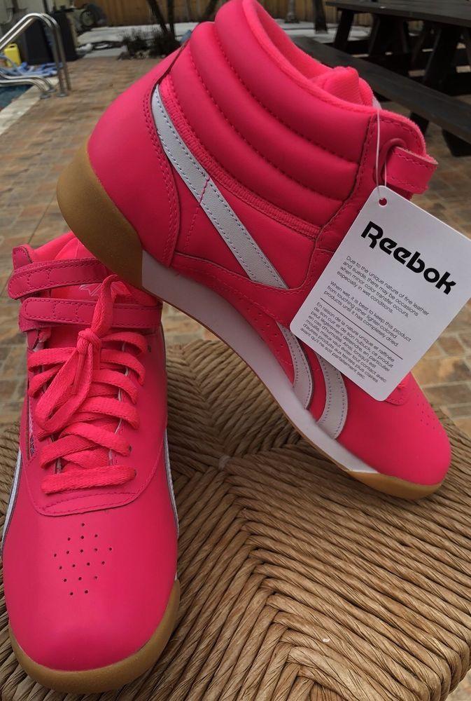 Women Reebok Tennis Shoes Freestyle Acid Pink white Size 8.5  f4b03fd90