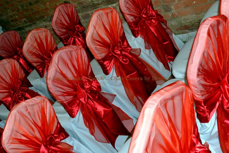 Red Organza Chair Shawls with Red Satin Bows on White Chair Covers  The Sophisticated Touch ...Chair Covers by Design