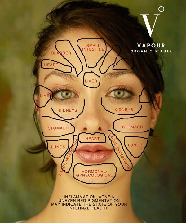 """Just had my first Chinese face mapping session yesterday, aka """"Mien Shiang."""" Chinese Medicine explains that your breakouts are not random coincidences.  Each organ of the body is connected to certain areas of the face. So eye-opening!  #chinesemedicine #holistic #health"""