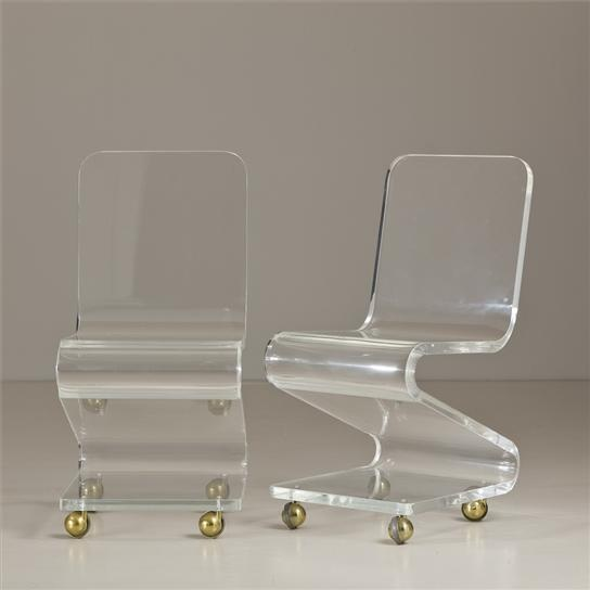 Global Views Acrylic Chair: A Pair Of Lucite Z-Shaped Chairs On Brass Wheels-perfect