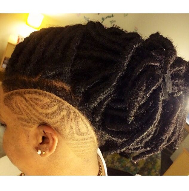 Faux Locs and Shaved Side #design #locs #shortcut # ...