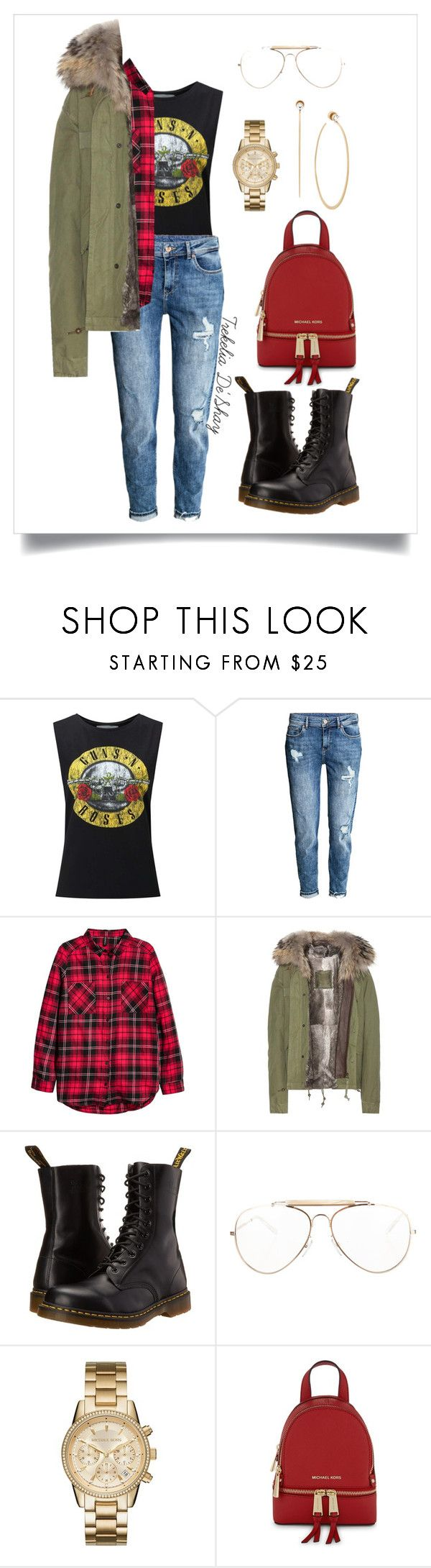 """173 *"" by trekeliadeshay-xo ❤ liked on Polyvore featuring Miss Selfridge, H&M, Mr & Mrs Italy, Dr. Martens, CÉLINE, Michael Kors, MICHAEL Michael Kors, GetTheLook, edgy and tomboychic"