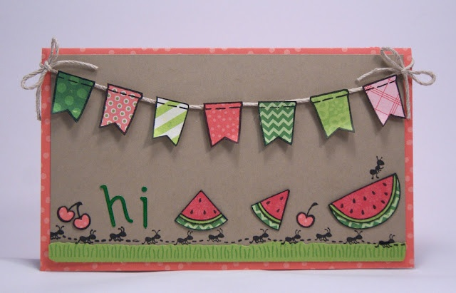 the Lawn Fawn blog 07/03/12 Love the watermelon slices, ants marching along, and the banners paper pieced