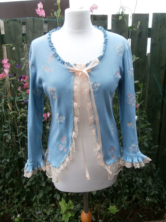 Upcycled Cardigan 'Peach Tree' UK size 14 (US size 10)