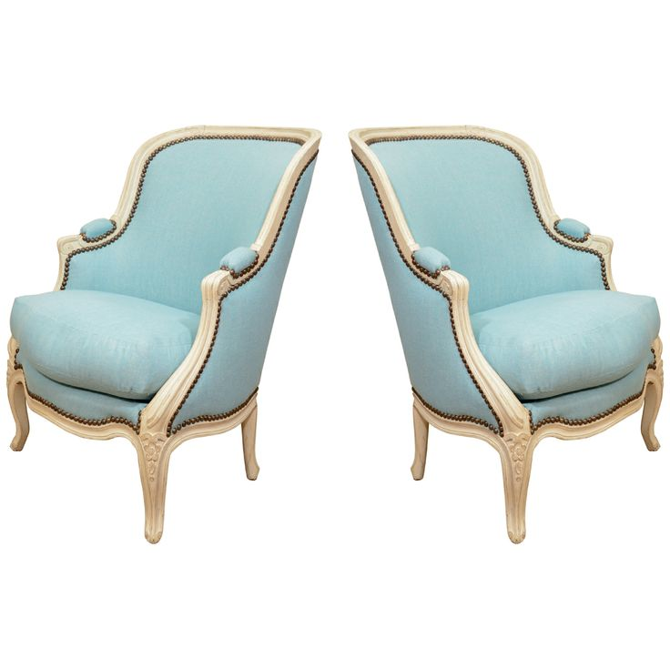 Pair of Small French Louis XV Style Bergeres | From a unique collection of antique and modern armchairs at http://www.1stdibs.com/furniture/seating/armchairs/