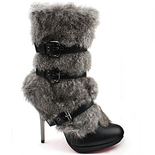 [SHOESONE.BIZ] 2105  Black Triple Buckle Faux Mink Fur Boots (11cm)