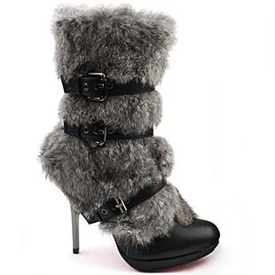[SHOESONE.BIZ] 2105  Black Triple Buckle Faux Mink Fur Boots (11cm)