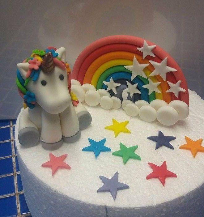 Handmade 100 Edible Rainbow Unicorn Themed Cake Topper