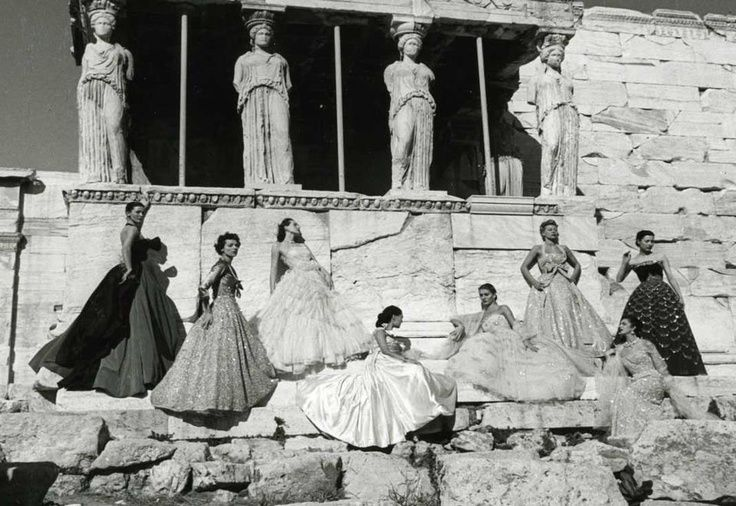 1951 - Christian Dior models under the caryatids of the Erechtheion temple on the north side of the Acropolis in Athens, Greece