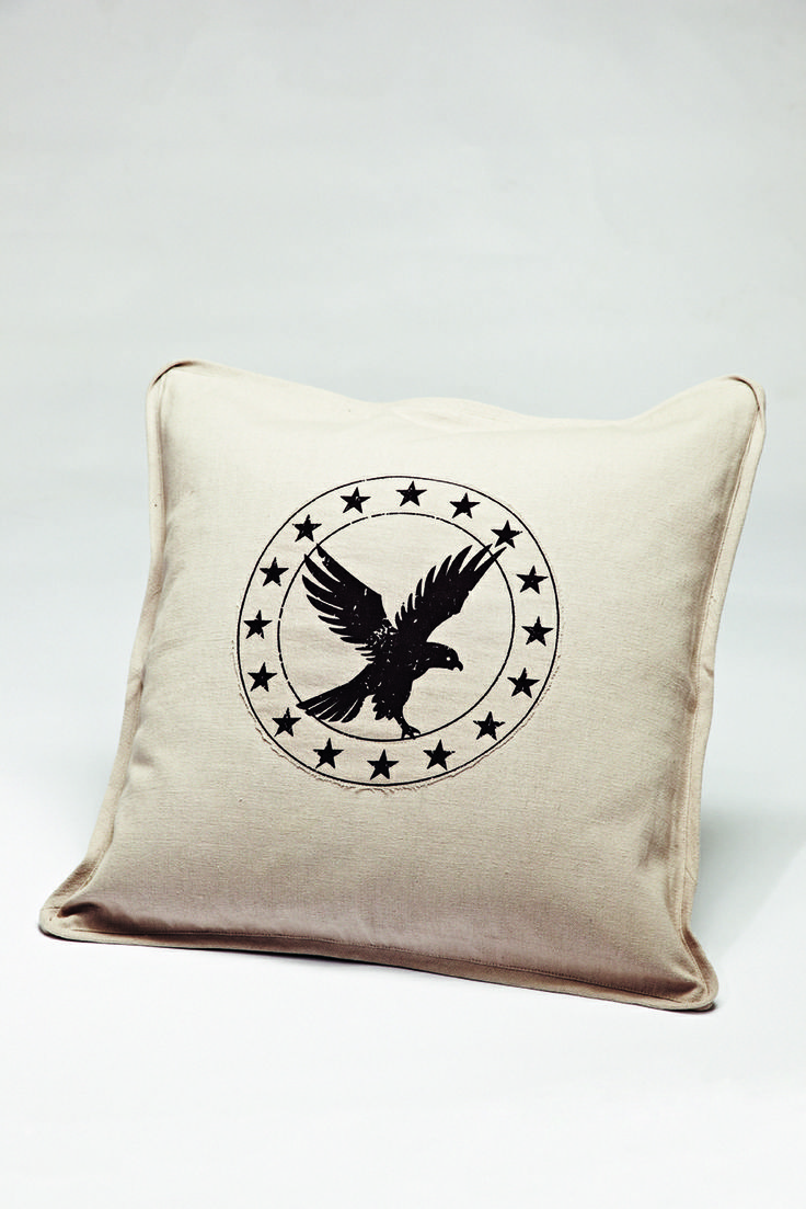 FLORENCE DESIGN Canvas Pillowcase with eagle Print and Florence Logo. <3