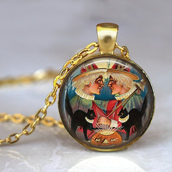 HALLOWEEN Wicked Witch Necklace Pendant by LiteraryArtPrints