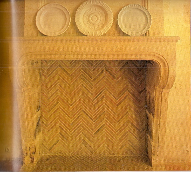 ...fire box done in thin fire bricks - herringbone pattern.