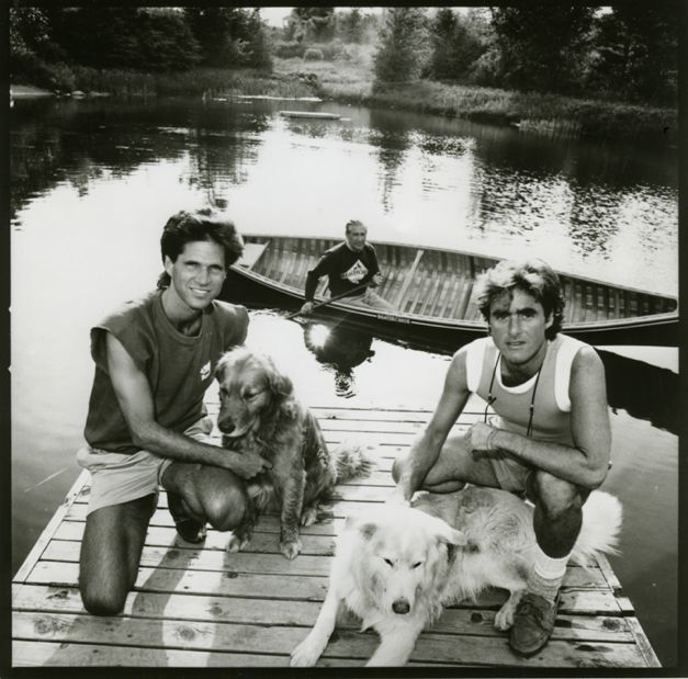 Michael Budman and Don Green. In background, a Beaver Canoe designed and paddled by Omer Stringer.