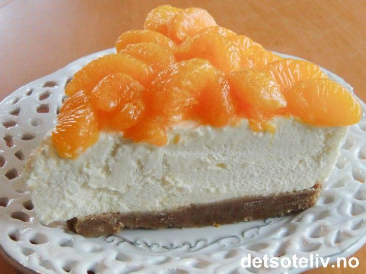 Mandarinostekake med pepperkakebunn | Det søte liv