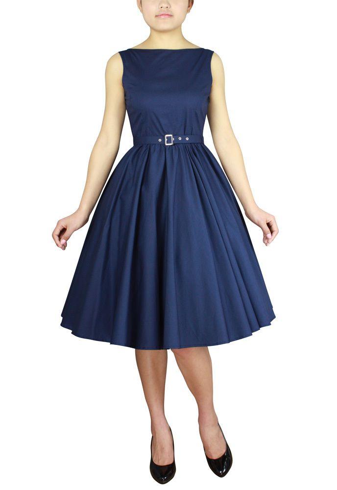 Hepburn Cotton Navy Blue 50&39s Belted Dress  Pretty little Belted ...
