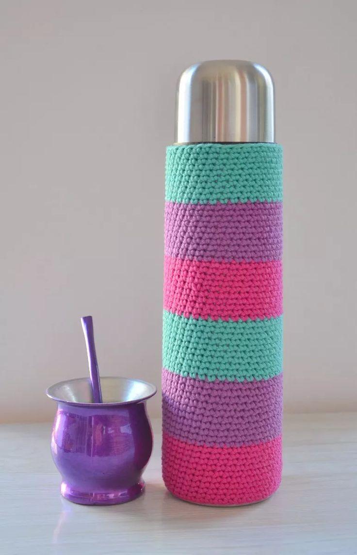 Funda Tejida A Crochet Con Base Termo Bala De 1 Litro Mate - $ 270,00