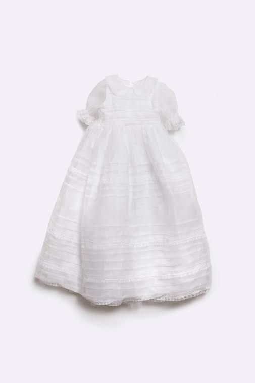 Christening gown-Baptism gown-Girls Christening- Silk pleated Organza christening dress with lace - baby dress- baby heirloom- etsy baby-