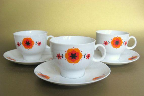 1970s Bavarian china set, with hot orange flowers