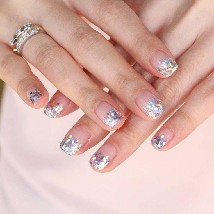 #gradationnails #glitternails #weddingnails #notd ❤