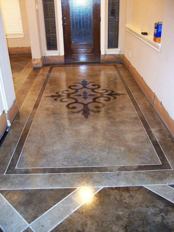 Stenciled and stained concrete floors gorgeous stenciled for How to care for stained concrete floors