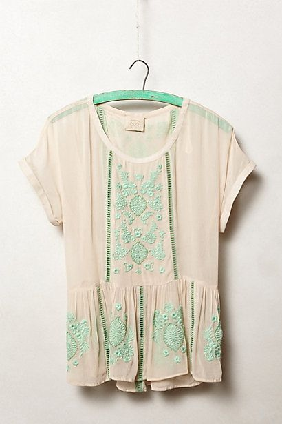 Peplum Top with MINT embroidery! so cute :)