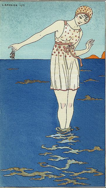 George Barbier (1882-1932) - French Art Deco Fashion Illustrator - maid at the beach