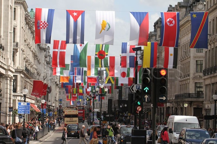 Regent Street, London, with Olympic Flags