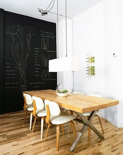 infatuation: chalk board wall, this would be fun for an office or meeting room, also for class rooms at home :-)