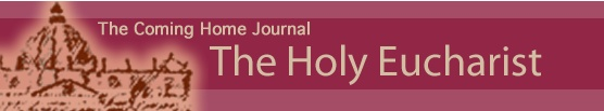 """The Holy Eucharist"" - FREE printable (PDF). Why do Catholics worship that wafer? This journal studies the Catholic teaching of the Holy Eucharist by examining the Bible and what the first Christians believed and were taught by Christ's Apostles? Great for personal enrichment or as a homeschool or RCIA resource. From the Coming Home Network (www.chnetwork.org)"