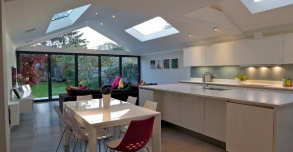 Contemporary kitchen extension, with a unique glass gable feature