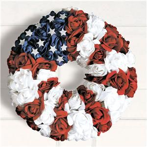 Red, White, and Blue Rosebud Wreath | Lillian Vernon - 4th of July Decor | Lillian VernonAmerican Pride, Lillian Vernon, American Honey, Blue Rosebud, July Decor, Front Doors Wreaths, 4Th, Allamerican Girls, Rosebud Wreaths