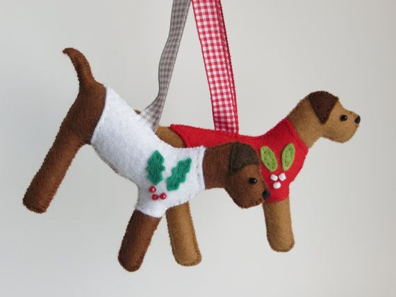 Hand sewn Border Terrier christmas jumper tree by MisHelenEous