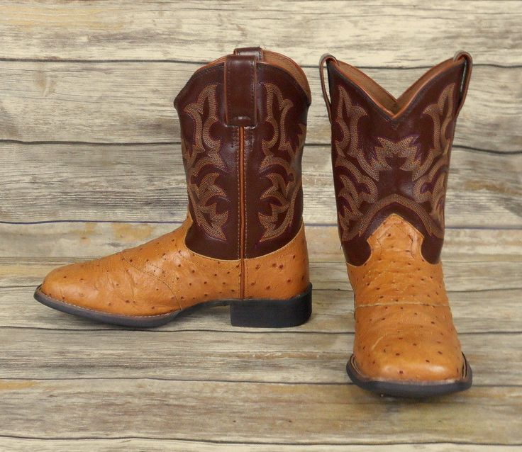 Justin Kids Cowboy Boots Brown Leather Tan Ostrich Print Youth Size 2.5 D Shoes #JustinBoots #Boots