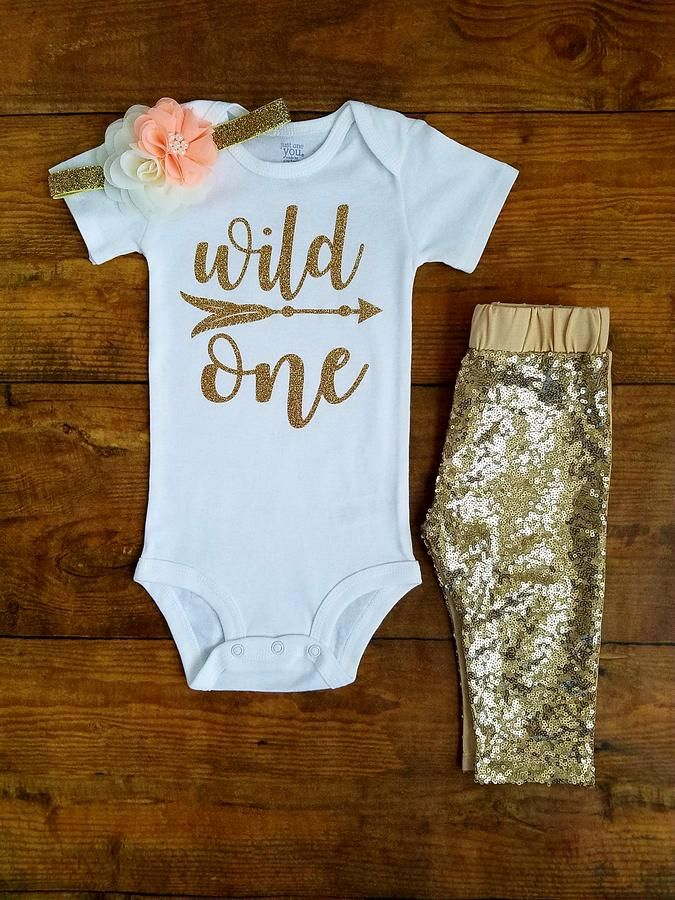 8a48b225d Wild One First Birthday Outfit Girl Peach And Gold Leggings - Adassa Rose