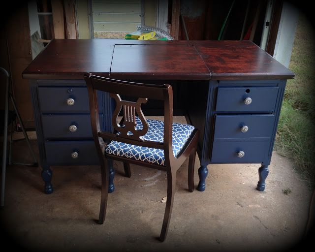 1930's Typewriter Desk refinished in Navy, restained Cherry, w/ new  hardware - The Painted Cottage SC: Well, this will just ha… - 1930's Typewriter Desk Refinished In Navy, Restained Cherry, W/ New
