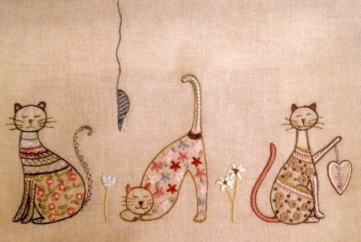 ♒ gatitos Encantador Bordado ♒ bordados   pontosemno-sofia.blogspot:
