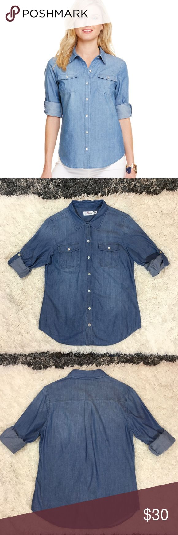Vineyard Vines Chambray Camp Button Down Size 6. 100% Cotton chambray with pretty, shiny mother of pearl shell buttons Roll up sleeves with button tab to secure Button closure flap chest pockets Color is darker than the stock photo appears to be Vineyard Vines Tops