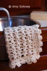 Puff Stitch Lace Crochet Dishcloth or Washcloth -- Free Crochet Pattern - Photo © Amy Solovay